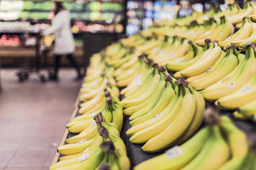 Close up of bananas in a grocery store